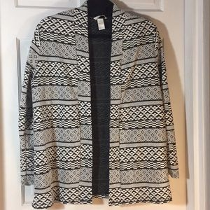 H&M Black/White Aztec Cardigan, L